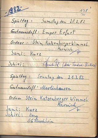 Erste Spiele 1982, Platzordnernachweisbuch