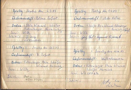 Erste Spiele 1983, Platzordnernachweisbuch