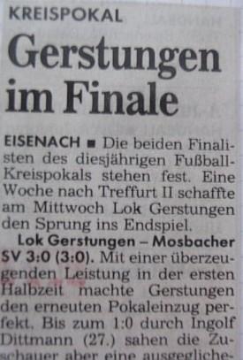 Erfolgsbericht Kreispokalhalbfinale 1994