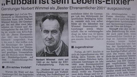 Ehrenamtspreis 2001: Unser 1. Vorsitzender Norbert Wimmel