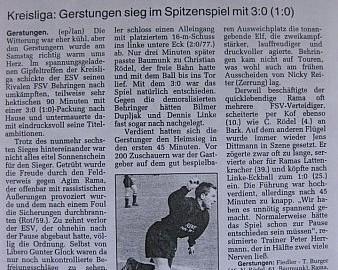 3:0-Heimsieg gegen Behringen