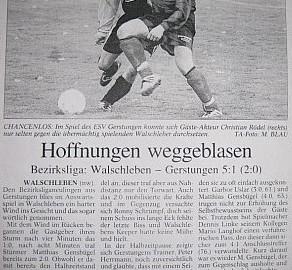 Derbe Niederlage in Walschleben